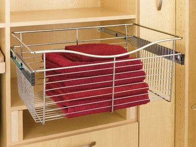 Rev-A-Shelf Pull-Out Closet Basket 18w X 14d X 11h Satin Nickel