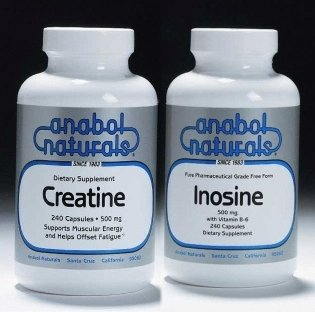 Anabol Naturals Pre-workout Power Stack: Creatine 1000 Caps & Inosine 480 Caps (4 Month Supply)