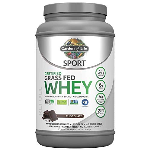 Garden of Life Sport Certified Grass Fed Clean Whey Protein Isolate, Chocolate, 23.7oz (1lb 7.7oz / 672g) Powder ()
