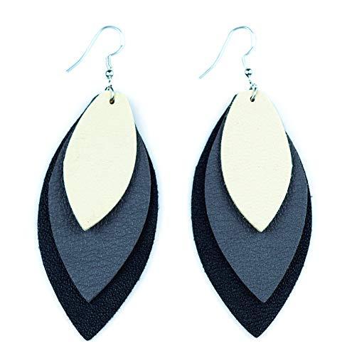 TIDOO Jewelry Women Three Layers Leather Drop Earring (Beige+Grey+Black)