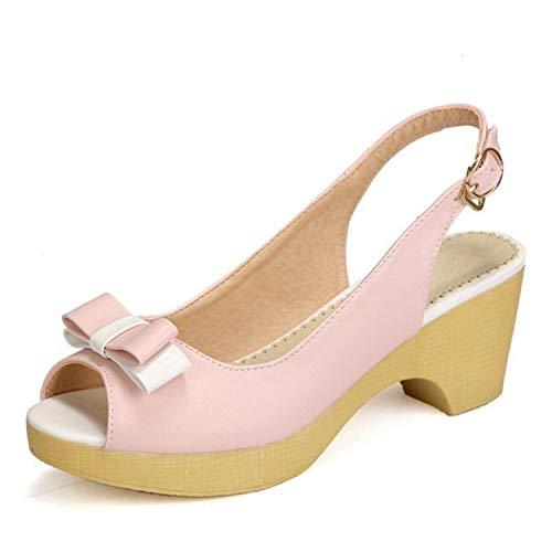 1375ebdecb0d2 4 Colors Women High Heel Sandals Platform Bow-Non Buckle Women Summer Dress  Shoes,Pink,10
