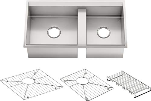 KOHLER K-3672-NA 8 Degree Offset Double Basin Kitchen Sink ()