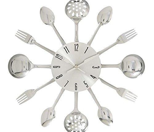 "Deco 79 66985 Fabulous Metal Kitchen Wall Clock, 15"" D - Color: chrome silver Finish: metallic Material: Acrylic metal - wall-clocks, living-room-decor, living-room - 41VBMNerRdL -"