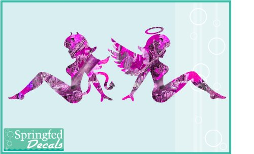Pink-Camo-Angel-Devil-Mudflap-Girls-Vinyl-Decals-6-Car-Truck-Hunting-Sticker