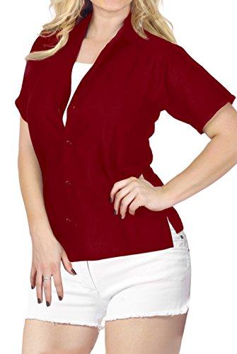 Button Camicia Rosso x527 Maniche Coprire Down Beachwear Corte Top Collare Camicia Signore Hawaiana qYEwBnZax