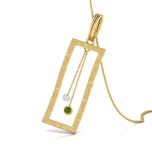 14K Or blanc 0,01carat au total Round-cut-diamond (IJ | SI) et péridot Pendentif