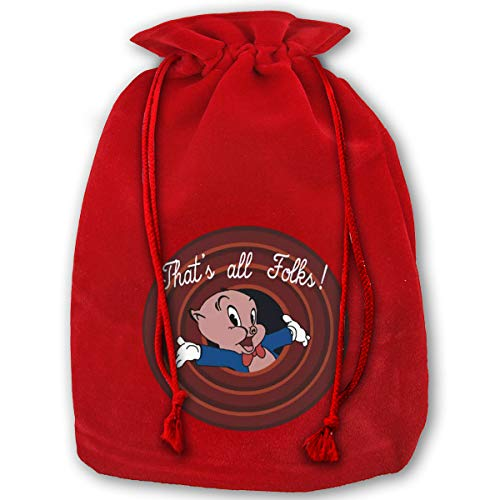 SUZETTE MUNOz Large Bags Porky Pig X'Mas Red Gift Bags for Kids Presents Xmas for Personalization
