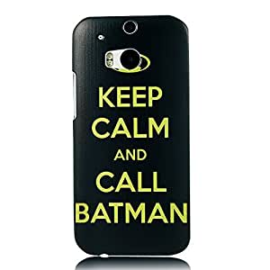 MOLLYCOOCLE Painted Series PC Case Black Design Keep Clam And Call Batman Pattern Case for HTC ONE M8 by Maris's Diary