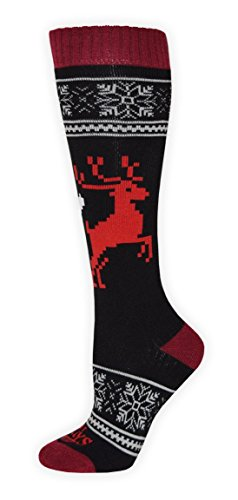 Hot Chillys Womens Socks - Hot Chillys Women's Holiday Fever Mid Volume Sock, Crimson, Medium