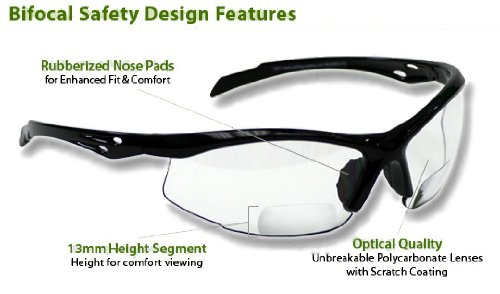 BiFocal Safety Reading Glasses SB-9000 Clear - Reading Glasses Safety Bifocal