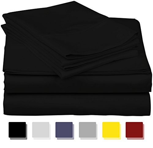 True Luxury 1000-Thread-Count 100% Egyptian Cotton Bed Sheets, 4-Pc King Black Sheet Set, Single Ply Long-Staple Yarns, Sateen Weave, Fits Mattress Upto 18 Deep Pocket