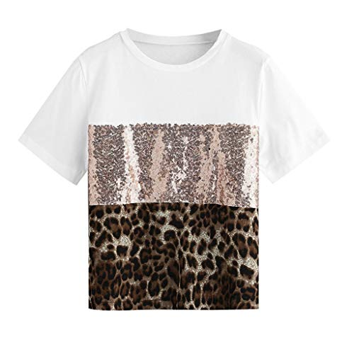Sunhusing Women's Leopard Patchwork Sequins Embellished Solid Color Round Neck Panel Short Sleeve T-Shirt Top White