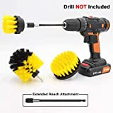 Cooptop All Purpose Medium Bristles Drill Brush Set with 150 mm Long-reach Removable Extension - Power Scrubbing Drill Brush Attachment - Power Scrub Brush Cleaning Kit