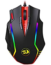 Redragon M902 PC Gaming Mouse with Side Buttons, RGB Backlit, USB Wired, Weight Tuning Set, High Precision Sensor 12400 DPI, Samsara Mouse for Windows PC FPS Games - [Black]