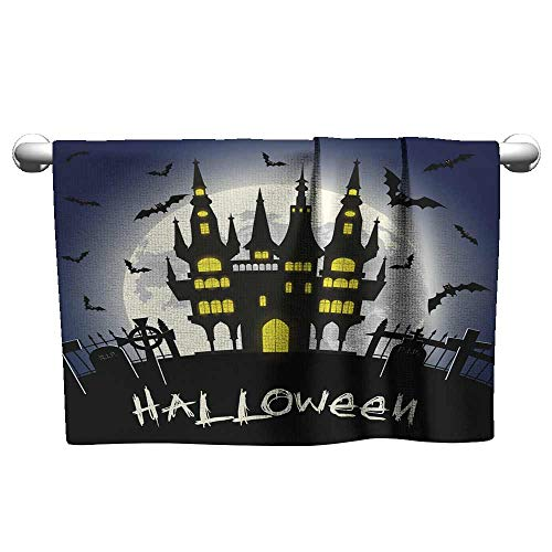 Andasrew Floral Hand Towels Halloween Illustration with Castle Tomb and Bats,Tacky Towel for Tennis -