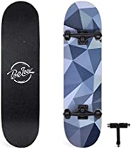 BELEEV Skateboards, 31x 8 inch Complete Skateboard for Beginners, 7-Ply Canadian Maple Double Kick Deck Concav