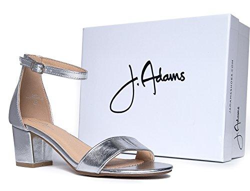 J. Adams Daisy Mid Heel Sandal, Silver PU, 10 B(M) US by J. Adams (Image #6)