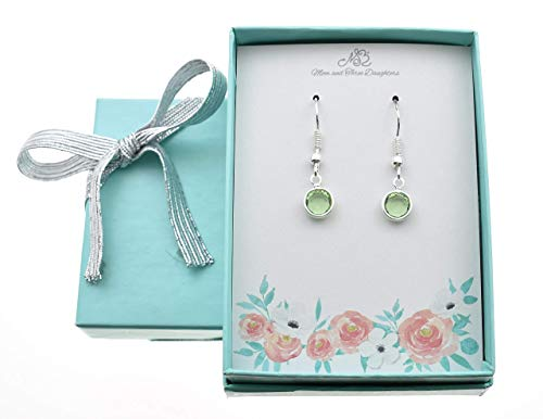 Woman's August Peridot Earrings in Silver Plated Channel-set Genuine Swarovski Crystal on Stainless Steel Wires. August Birthstone. Peridot