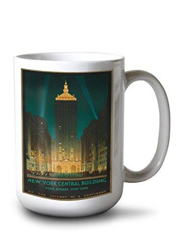 New York Central Building Vintage Poster (Artist: Bonestell) USA c. 1930 (15oz White Ceramic Mug) -