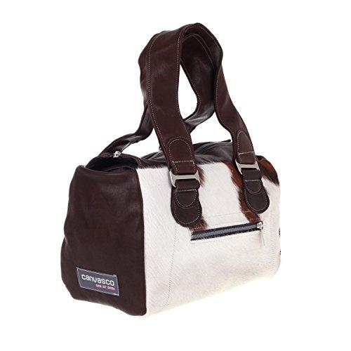 Canvasco sac à main en daim et peau de vache marron