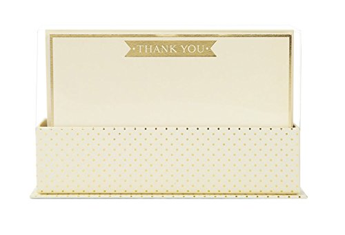 Graphique Cream and Gold Flat Notes, Bold Thank You Print Adorning Cream & Gold Design, 50 Note Cards and Matching Envelopes, 5.625 x 3.5