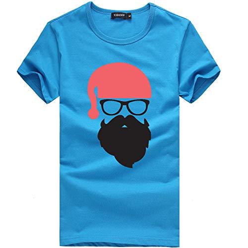 ANJUNIE Men's Christmas Tees Shirt Printing Short Sleeve Tops Casual Blouse (Blue,XXL)