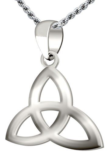 0.925 Sterling Silver Irish Celtic Triquetra Knot Pendant 2mm Curb Necklace, 24in by US Jewels And Gems