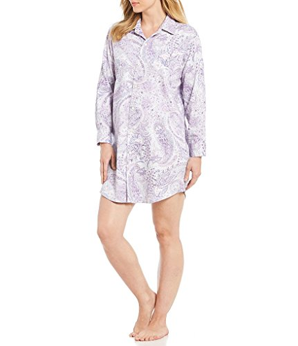 - Lauren Ralph Lauren Women's Cotton Sateen Sleepshirt (Purple Paisley, Large)