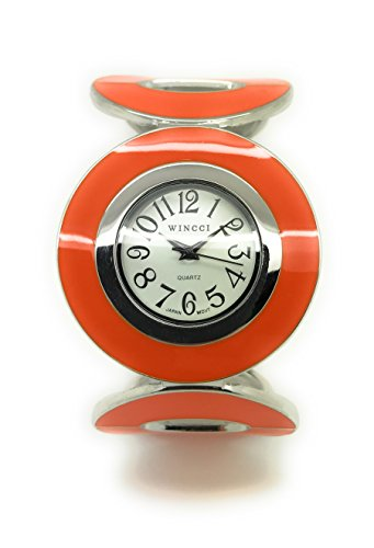 Ladies Casual Enamel Bangle Cuff Fashion Watch White Dial Wincci (Orange)