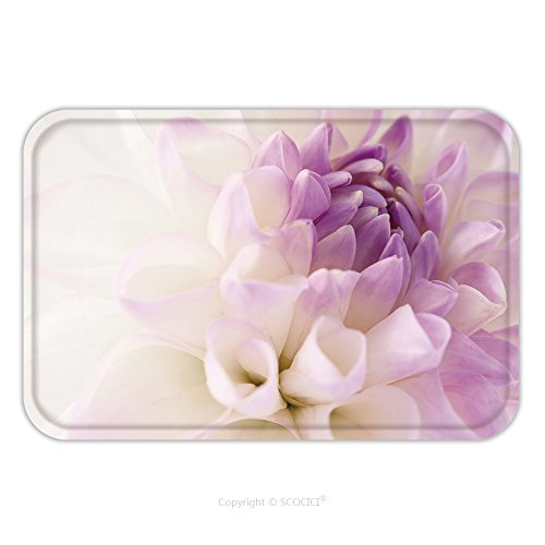 Flannel Microfiber Non-slip Rubber Backing Soft Absorbent Doormat Mat Rug Carpet White Dahlia With Violet Heart Close Up Floral Background 209297071 for - White Dahlia Reviews