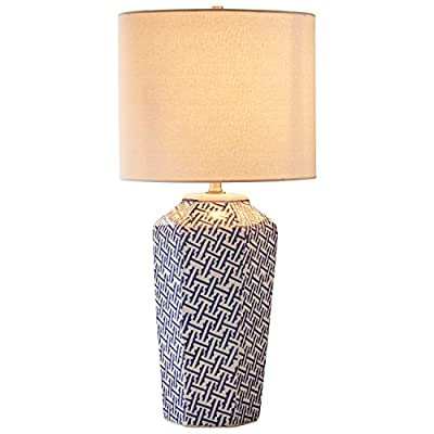 "Stone & Beam Geo Pattern Ceramic Nightstand Table Lamp With LED Light Bulb - 12 x 12 x 26 Inches, Blue and White - A modern take on classic blue and white china, the multi-sided base of this ceramic lamp features modern geometric patterns. Combined with a white fabric drum shade, it will add elegance to an end table or nightstand in any style room. 12""W x 12""D x 26""H Ceramic, brushed nickel hardware and fabric shade - lamps, bedroom-decor, bedroom - 41VBQ856BHL. SS400  -"