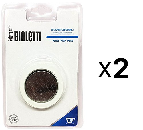 Bialetti Stainless Steel Replacement Gasket Filter 10 Cup Espresso Maker (2-Pack)