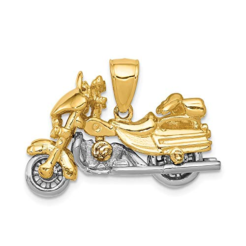 14k Gold Motorcycle Charm - 14k Two Tone Yellow Gold 3 D Motorcycle Pendant Charm Necklace Travel Transportation Man Fine Jewelry Gift For Dad Mens For Him