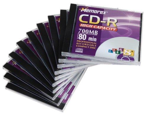 Memorex 700MB/80-Minute 24x CD-R Media (10-Pack with Jewel Cases) by Memorex