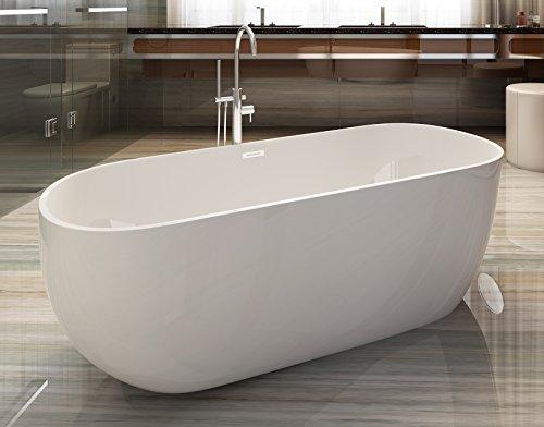 ALFI brand AB8838 Oval Acrylic Free Standing Soaking Bathtub, 59