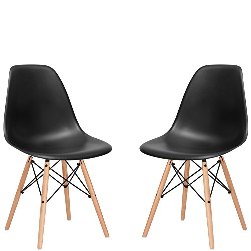 Poly and Bark Vortex Side Chair, Black, Set of 2 (Aeron Chair Plastic)