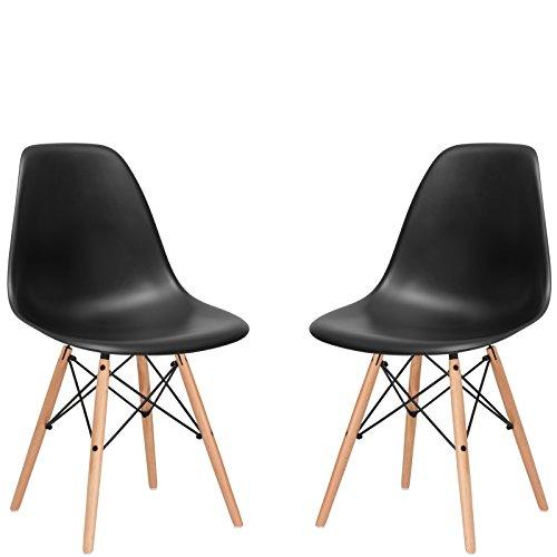 Poly and Bark Vortex Side Chair, Black, Set of 2 (Plastic Aeron Chair)