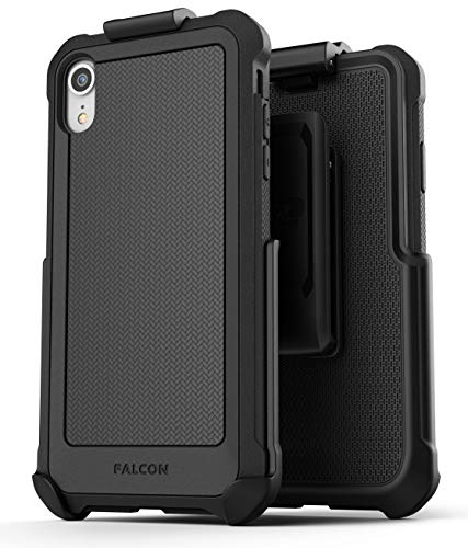 Encased Iphone Xr Belt Case Holster Clip Falcon Full Body Heavy Duty Cover W Tempered Glass Screen Protector Military Grade Protection Compatible