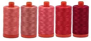 Aurifil Mako 50wt Thread 5 Large Spools: Salmon + Cinnabar + Medium RED + PAPARIKA + RED Wine (2225+6728+5002+2270+2260)