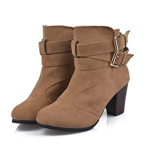 JESFFER Women Belt Buckle Ladies Faux Boots Ankle Boots High Heels Martin Shoes (9, Brown) from JESFFER