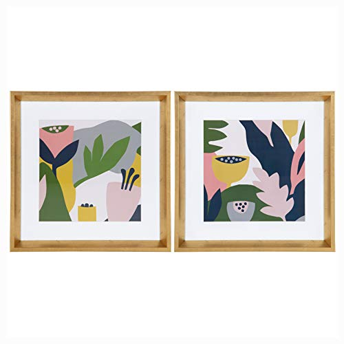 - Kate and Laurel Calter Myriam's Garden Matted Framed Print Under Glass Art Set by Myriam Van Neste, 15.5x15.5 inches/Each, Gold
