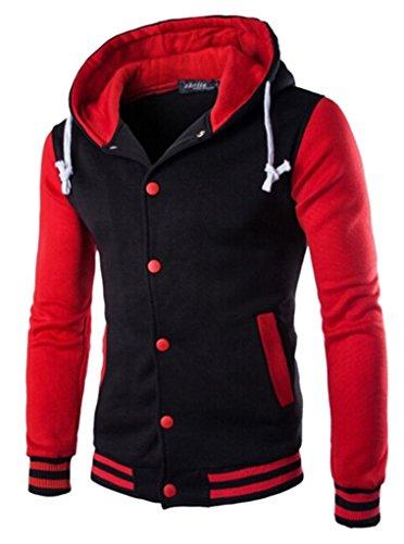 (Unko Mens Casual Slim Baseball Varsity Hoody Sweatshirt Jacket Red XL)