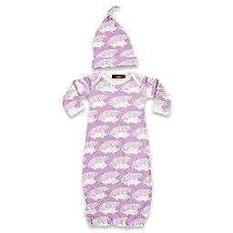 Milkbarn Newborn Gown and Hat Set (Lavender Hedgehog)