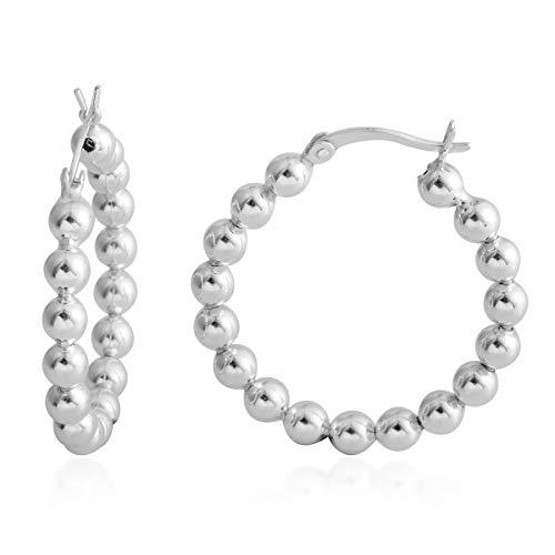 (925 Sterling Silver Strand Hoops, Hoop Earrings for Women Hypoallergenic Gift Jewelry)