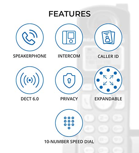 RCA 25260 2-Line Expandable Phone System - Full Duplex Telephone with Built-in Intercom Bundle with RCA 25055RE1 DECT 6.0 Cordless Accessory Handsets (3-Pack) and 6 Blucoil AA Batteries by blucoil (Image #4)