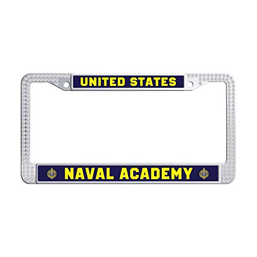 Academy Car Naval - Nuoousol United States Navy Command White Crystal License Plate Frame, USNA, Annapolis - United States Naval Academy Sparkle Diamond Cute Waterproof Stainless Steel Car tag Frame with Screw Cover
