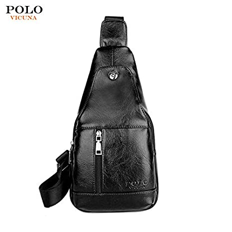 VICUNA POLO Mens Designer Black Crossbody Bag – PU Leather Cross Body Purse  – Stylish Vintage e7bc2c7611840