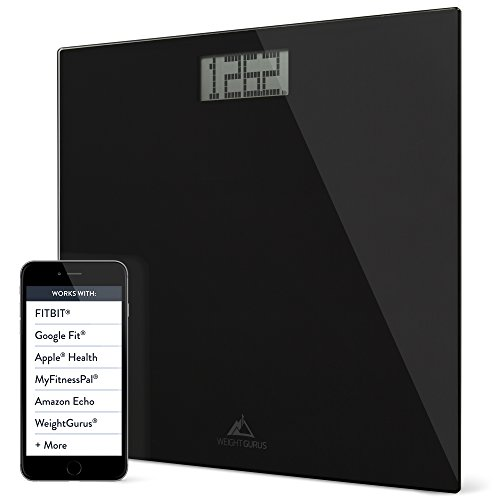 Weight Gurus Digital Bathroom Weight Scale (Black) Glass, Clean Design, Large Display, & Battery Included