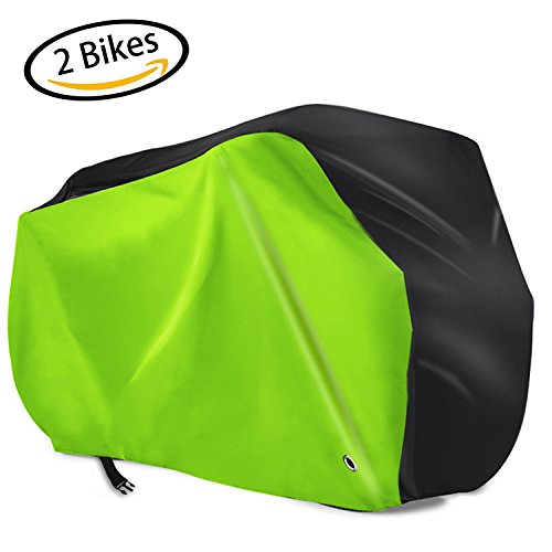 2 Bike Cover for Outdoor Waterproof Bicycle, 420D Oxford Heavy Duty Ripstop Material with Lock-holes, Anti Dust Rain UV Protection for Mountain Bike / Road Bike with Drawstring Storage Bag, XL Heavy Duty Rain Cover