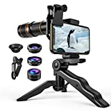 Criacr Phone Camera Lens, 4 in 1 Cell Phone Lens Kit for iPhone X Lenses, 18X Telephoto Lens + 198° Fisheye Lens + 0.63X Wide Angle Lens&15X Macro Lens for iPhone 7 Plus/8, Samsung, Other Smartphones